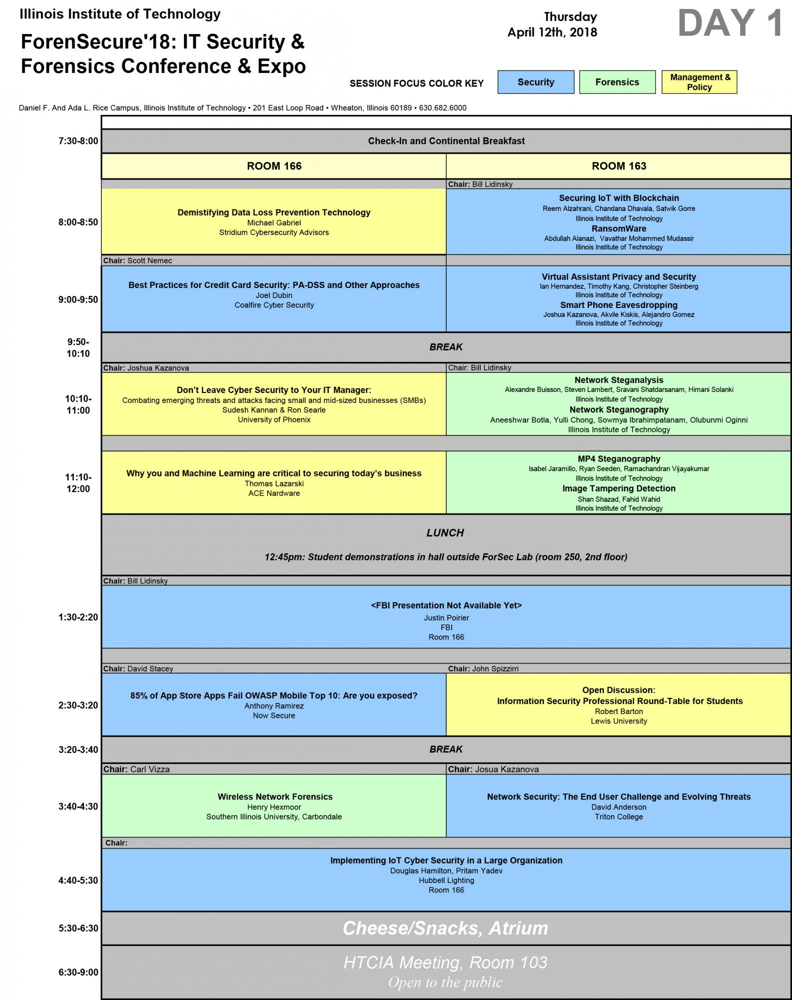 ForenSecure Schedule for Day 1