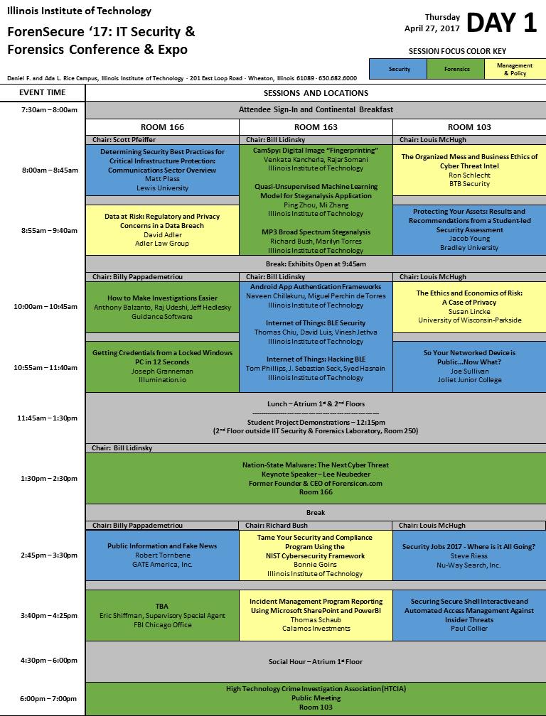 ForenSecure '17 Schedule - Day 1