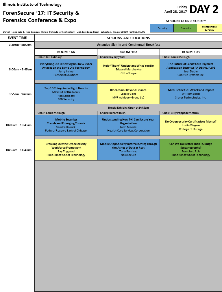 ForenSecure '17 Schedule - Day 2