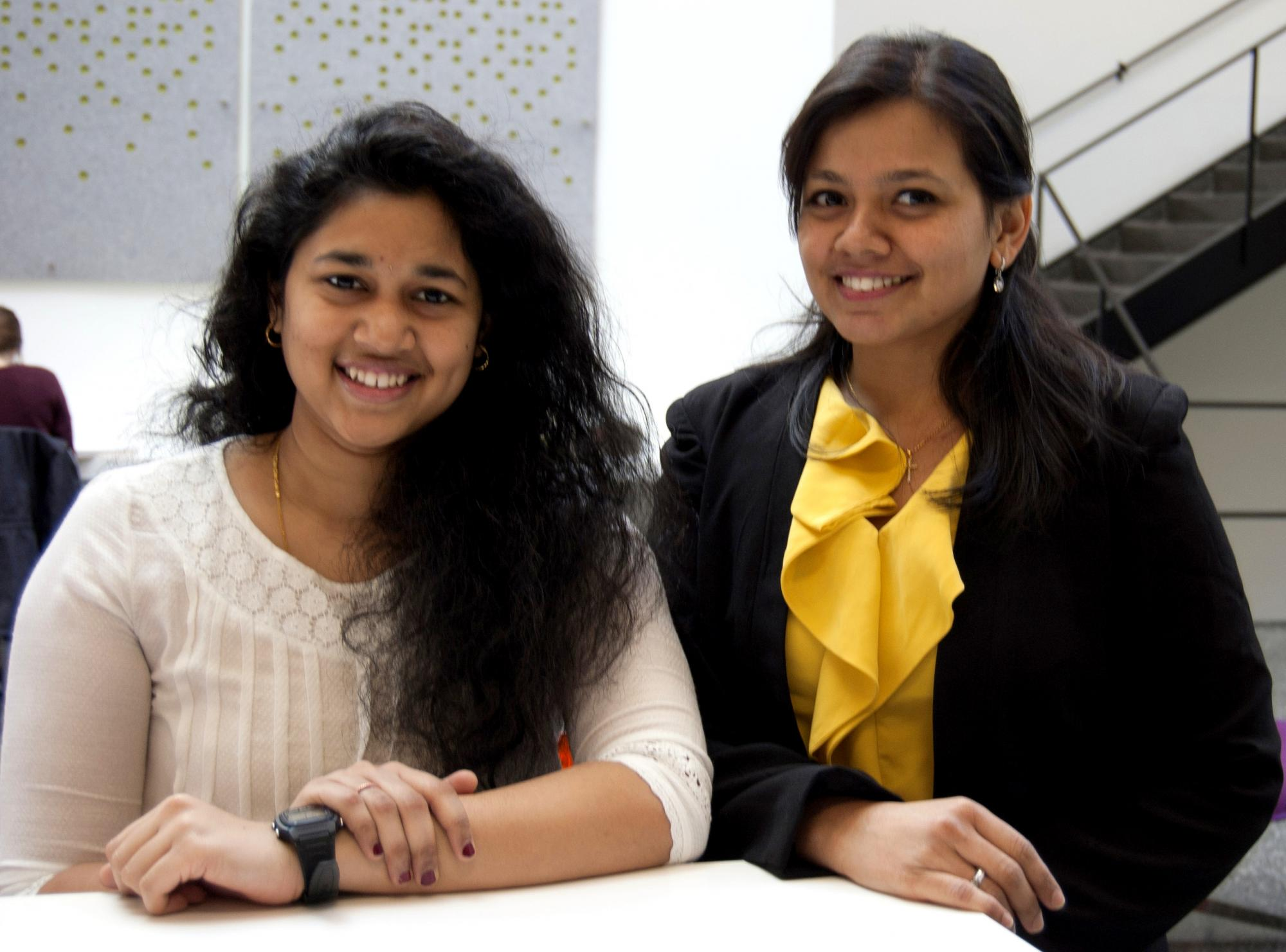 Pratyusha Mudrakarta (on the left) and Elizabeth Rebello (on the right)