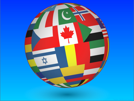 Picture of the globe with flags