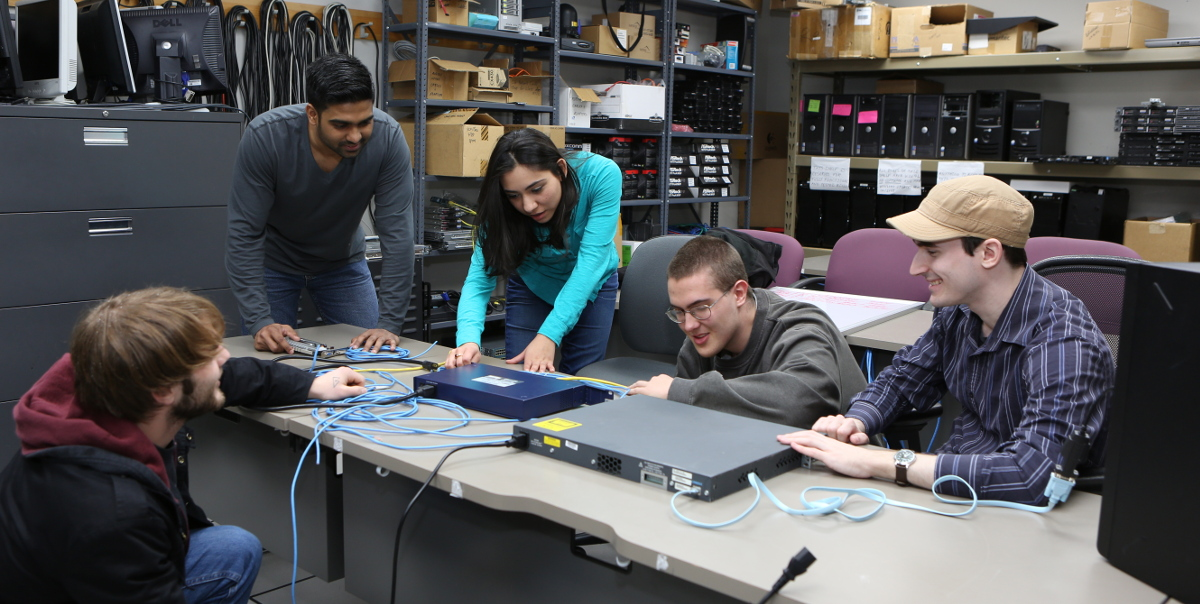 Students in a hardware lab