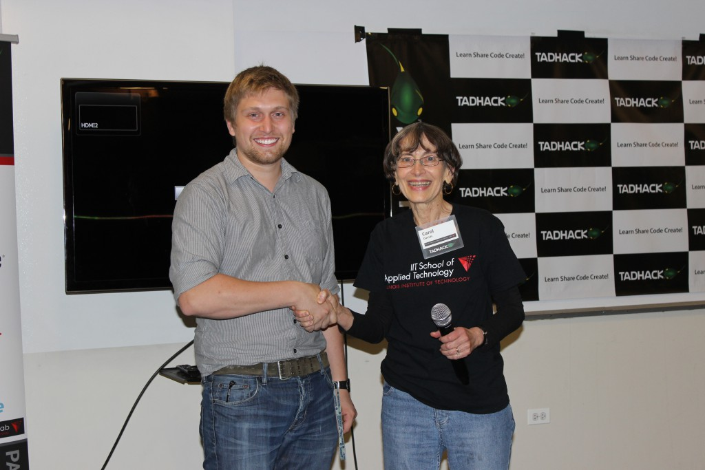 Carol Davids professor at IIT RTC Labs congratulations Chaz Granholm for his winning hack NGPSAP Map Integration