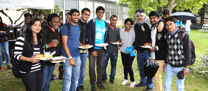 Picture of SAT students at the SAT BBQ in 2014